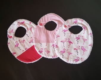 Set of 3 bibs flamingos