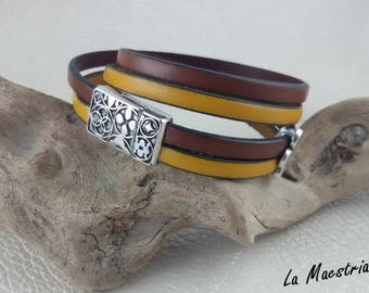 New - Bracelet Watch - genuine leather cuff - silver magnetic clasp engraved passing diamond...