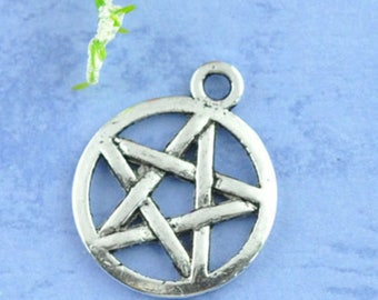10 charms Pentacle Pentagram 20x17mm