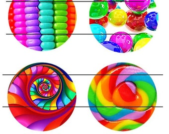25 mm gorgeous set of 4 glass cabochons glue colorful Follies 3 25 mm