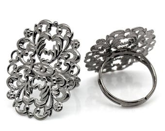 1 ring tray adjustable filigree Gunmetal 16.7 mm within 15 days