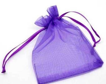 10 sachets Organza dark purple gift 7x9cm