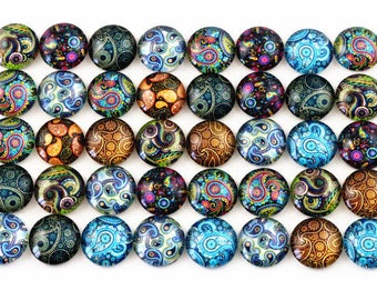 20 cabochons 12 mm glass colorful within 15 days