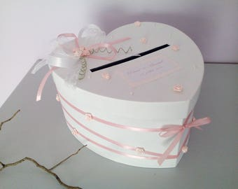 Wedding urn heart, pink and white
