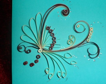 card any occasion in quilling modern flower pattern