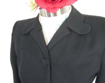M 40s 50s 2pc Suit Wool Black Jacket Skirt WWII War Era Gaberdine Covered Buttons Swing Lindy Hop Medium