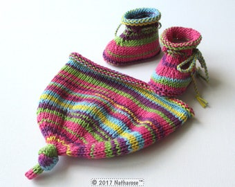 Hat and colorful slippers combed cotton - size 0/1 month