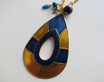 Gold and blue drop pendant necklace
