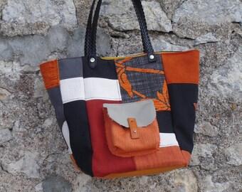 Black, ecru, grey patchwork tote bag, orange