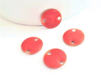 Set of connectors enameled round orange Tangerine, 12mm, coin enameled two-sided / double-sided