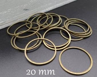 Lots of 10 rings closed 20 mm metal bronze