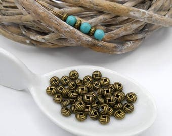 10 pearls flat balls 6 mm bronze metal