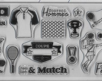 """tennis"" clear stamp set"