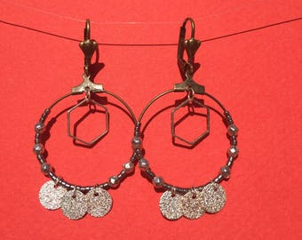 Bronze hoop earrings with Sequins