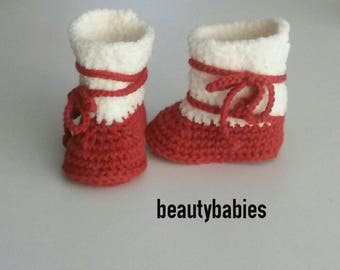 boots off rust and white baby size 3 months