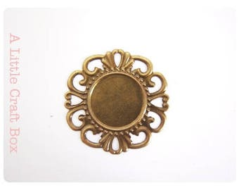 "5 fine prints ""round lace""-antique bronze color"