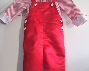 Adorable girl 12/18 months red and white set