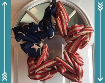 Star Shaped Patriotic Burlap Wreaths