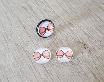 2 glass cabochons 12mm pink bow with white polka dots