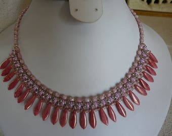 WOVEN WITH DAGGERS ROSES BIB NECKLACE