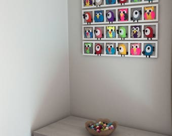 Frames to decorate the owls and birds in felt - multicolor - nursery wall