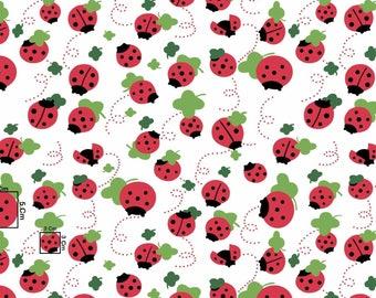 Ladybug print cotton fabric