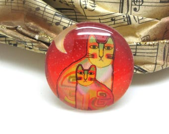 2 cabochons 14 mm glass cat Pop Orange and yellow - 14 mm