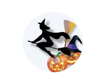 2 cabochons glass 12 mm Orange witch Halloween - 12 mm