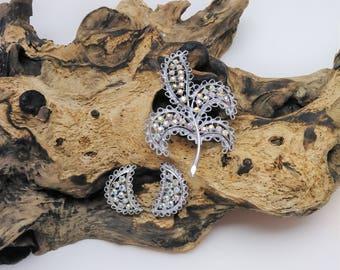 Vintage Emmons Aurora Borealis Leaf Brooch and Earring Set, Vintage Brooch and Earring Set, Aurora Borealis Jewelry Set, Emmons Set,
