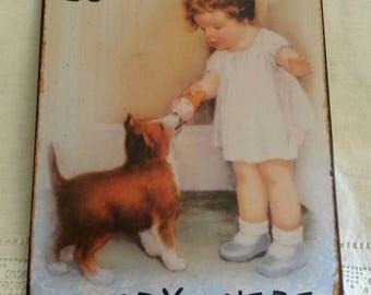 Vintage metal plate / girl and her dog / romantic wall decor