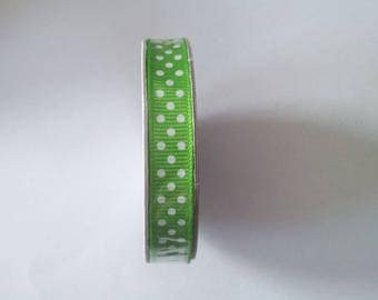 Green polka dot satin ribbon white