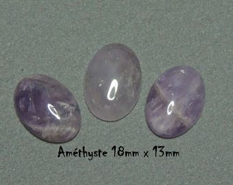 Set of 3 Amethyst cabochons 18mm x 13mm oval