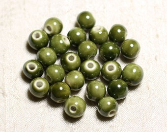 100pc - ceramic porcelain khaki 10mm round beads