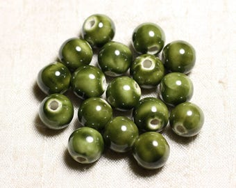 10pc - ceramic porcelain beads balls 12mm Green Olive Khaki - 4558550088857