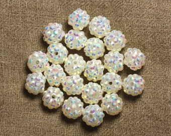 5pc - sorts 12x10mm white resin beads and multicolored 4558550009357