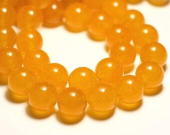 4pc - beads - Jade balls 14mm saffron yellow - 8741140016705