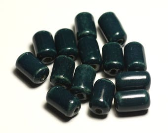 6PC - porcelain ceramic beads 14mm blue green Peacock duck oil - 8741140017795 Tubes