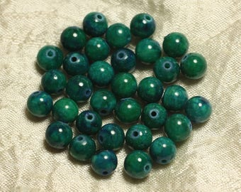 10pc - stone beads - Jade green and blue balls 8mm 4558550025272