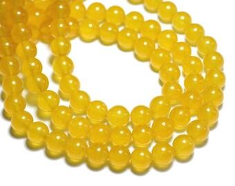 10pc - beads - Jade balls 8mm yellow saffron mustard - 8741140008595