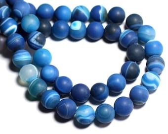 10pc - stone beads - Agate blue matte balls 8mm - 8741140000339