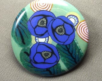 Small brooch, blue poppies composition.