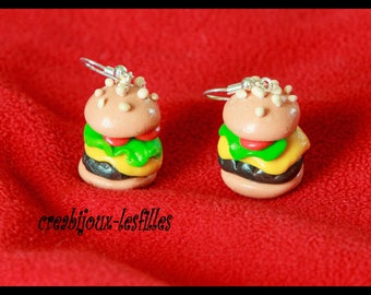 polymer clay, hamburger earring, mini double cheese burger, cheese burger clips, jewelry, birthday gifts, gift jewelry