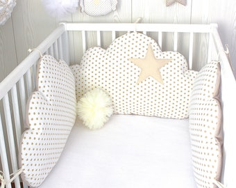 Baby cot bumpers for 70cm wide bed, 3 cloud cushions, white with beige stars