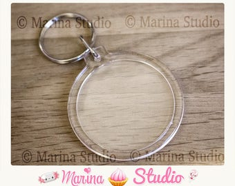 2 round Keychain with acrylic Transparent 7.9 cm x 4.5 cm MS46978 photo frame