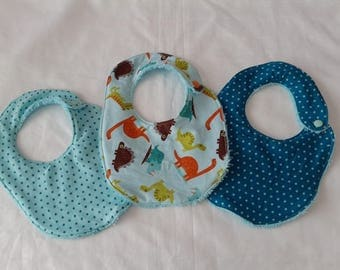 motorcycles stars and dinosaurs closure turquoise Terry cloth bibs with snap in a set of 3