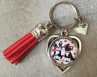 Bulldog, cute, dog - key heart 18 mm glass cabochon