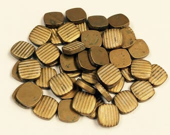 Vintage BRASS Square Ribbed Stampings Recycled Industrial Steampunk Craft Supply Mixed Media or Assemblages 9x9x2 mm  PKG50 MS22