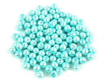 50 6 mm Sky Blue Pearl effect glass beads