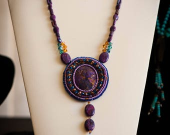 Mohave Purple Turquoise Necklace and Earrings