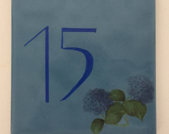 Plate street number and/or name of home decor blue hydrangeas